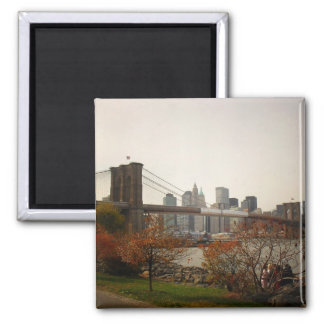 The Brooklyn Bridge and Autumn Trees, NYC Magnet