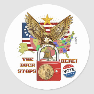 The-Buck-Stops-Here-1A Classic Round Sticker