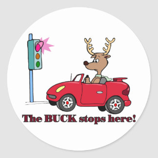 The buck stops here classic round sticker