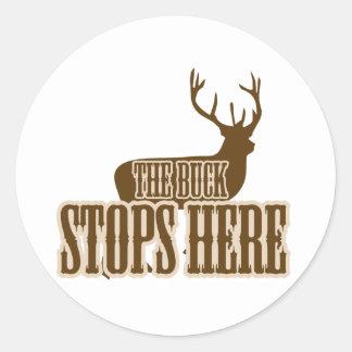 The Buck Stops Here Deer Hunter Round Sticker
