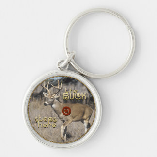 The Buck Stops Here Silver-Colored Round Key Ring
