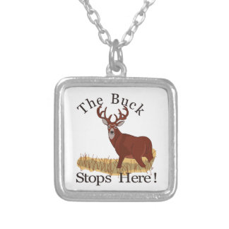 The Buck Stops Here! Square Pendant Necklace