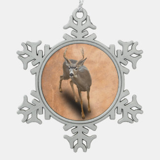 THE BUCK STOPS HERE SNOWFLAKE PEWTER CHRISTMAS ORNAMENT
