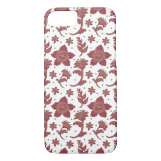 The Burgundy Batik Flowers iPhone 8/7 Case
