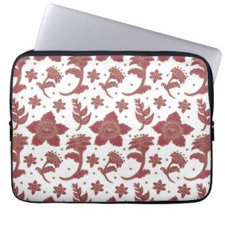 The Burgundy Batik Flowers Laptop Sleeve
