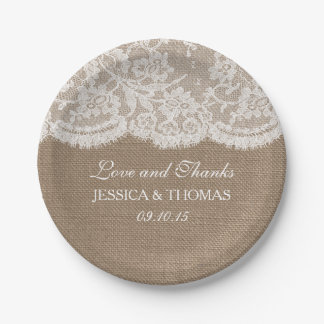 The Burlap & Lace Wedding Collection 7 Inch Paper Plate