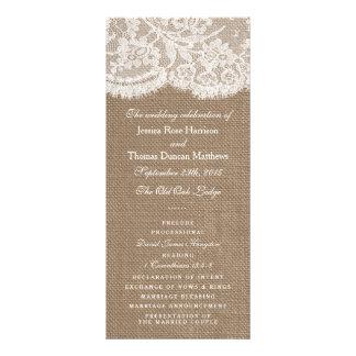 The Burlap & Lace Wedding Collection Programs Custom Rack Card