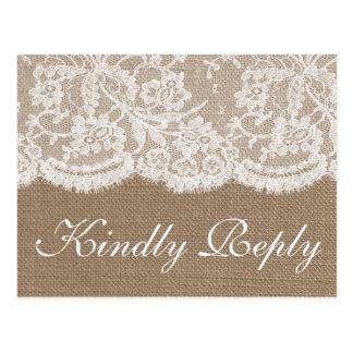 The Burlap & Lace Wedding Collection RSVP Postcard