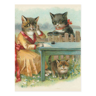 """""""The Cat Family"""" Vintage Postcard"""
