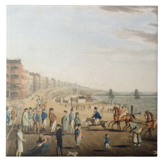 The Chain Pier at Brighton with Characters (etchin Tile