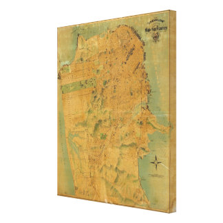 The Chevalier  Map of San Francisco Stretched Canvas Print