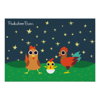 The Chicken Family at Night Poster