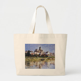 The Church At Vetheuil by Claude Monet Large Tote Bag
