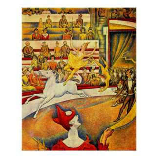 The Circus by Georges Seurat, Vintage Pointillism Poster