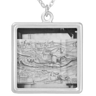 The city and the village of Carcassonne, 1462 Silver Plated Necklace