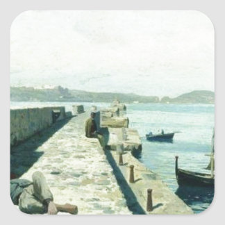 The city Pozzuoli near Naples by Volodymyr Orlovsk Square Sticker