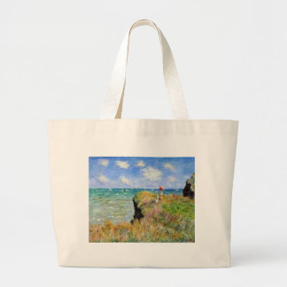 The cliff of Pourville of Claude Monet Large Tote Bag