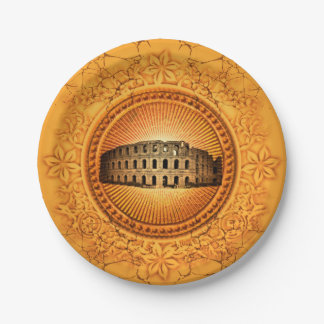 The Colosseum on a button with floral elements Paper Plate