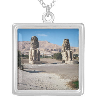 The Colossi of Memnon, statues of Amenhotep Silver Plated Necklace