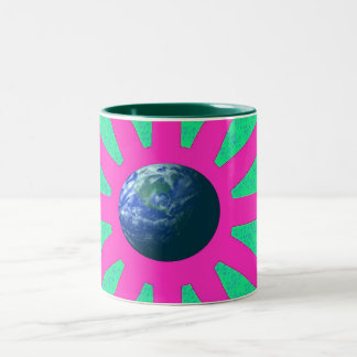 the colourful eath Two-Tone coffee mug
