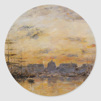 The Commerce Basin, Le Havre by Eugene Boudin Classic Round Sticker