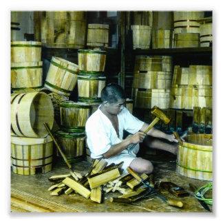 The Cooper Making Barrels in Old Japan Vintage Photographic Print