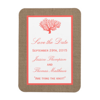The Coral On Burlap Boho Beach Wedding Collection Magnet