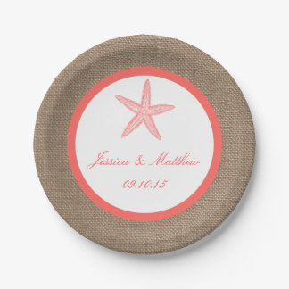 The Coral Starfish Burlap Beach Wedding Collection 7 Inch Paper Plate