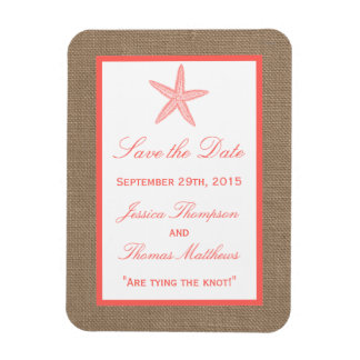 The Coral Starfish Burlap Beach Wedding Collection Magnet