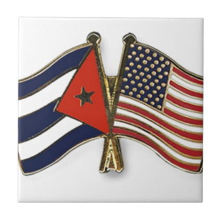The Cuban Flag and the American Flag Tile