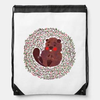 The Cute Baby Beaver Drawstring Bag