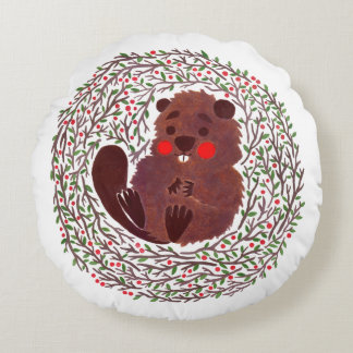 The Cute Baby Beaver Round Cushion