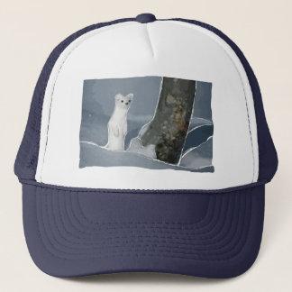 the cute snow weasel trucker hat