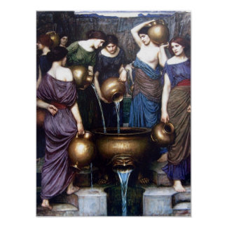 The Danaides by JW Waterhouse, Vintage Fine Art Poster