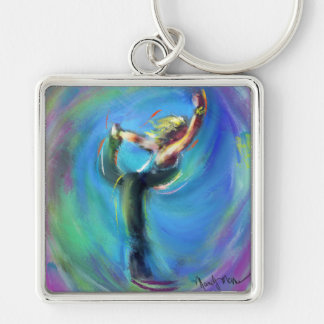 The Dancer Yoga Posture. Silver-Colored Square Key Ring
