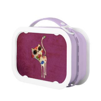 The Day of The Dead White Cute Cat Lunch Box