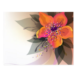 The decorative abstract floral postcard design