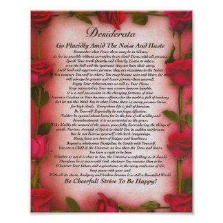The Desiderata Poem with Red Roses for Mom Poster