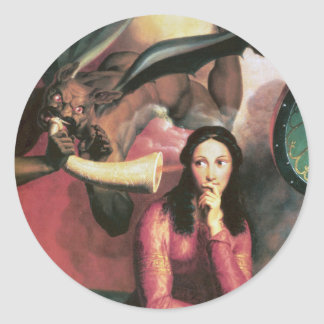 The Devil Tempting a Young Woman Classic Round Sticker