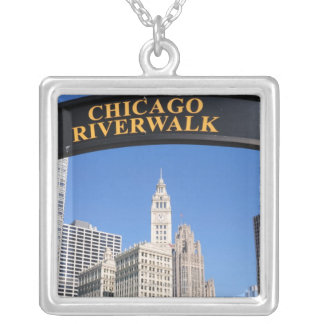 The distinctive design and clocktower of the silver plated necklace