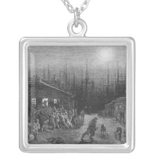 The Docks Night Scene Silver Plated Necklace