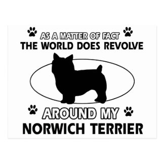 The dog revolves around my norwich terrier postcard