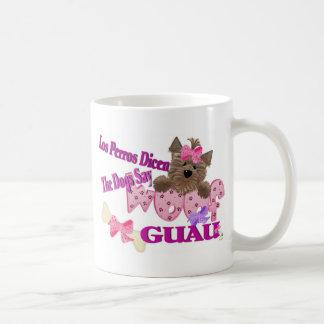 "The Dogs Say ""Woof"" (Pink) Basic White Mug"