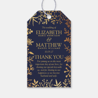 The Elegant Navy & Gold Floral Wedding Collection Gift Tags