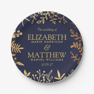 The Elegant Navy & Gold Floral Wedding Collection Paper Plate