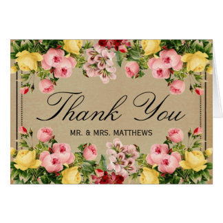 The Elegant Vintage Floral Wedding Collection Note Card