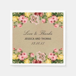 The Elegant Vintage Floral Wedding Collection Paper Napkin