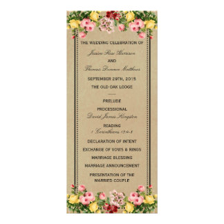 The Elegant Vintage Floral Wedding Collection Customized Rack Card
