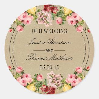 The Elegant Vintage Floral Wedding Collection Round Sticker