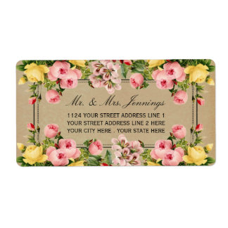 The Elegant Vintage Floral Wedding Collection Shipping Label